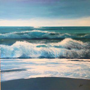 Howard Birchmore Wild Seas dynamic beach painting for sale