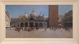 Andrew Hird 'San Marco Morning Light, Summer Crowds' Italian Painting For Sale