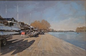 Andrew Hird Rowing Clubs Putney Riverside Boat Art For Sale.