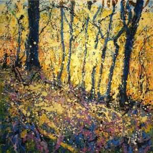 Sharon Withers Meon Valley splatter forest painting for sale