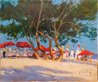 John Haskins Red Umbrellas Pollença Mallorca painting for sale