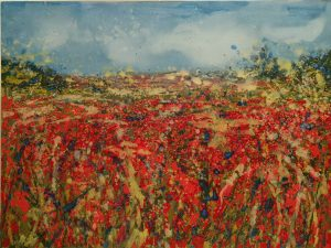 Sharon Withers Red Vista II abstract flower field art for sale