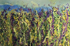 Sharon Withers Wild Garden I floral painting for sale
