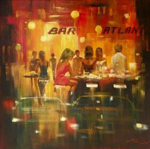 Madjid Bartime City Bar Scene Painting