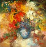 Madjid Floral II abstract vase still life painting for sale