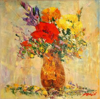 Madjid Floral I abstract still life flower painting for sale