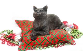 Suzie Marsh Ginger Lying Cat bronze animal sculpture for sale