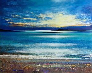 John Connolly Sunsetting Scilly cornish sea painting for sale