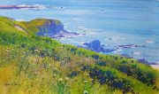 Richard Thorn Blue In Green coastal meadow painting