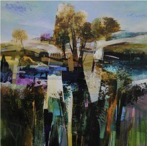 Celia Wilkinson Chateaux blue purple landscape art for sale