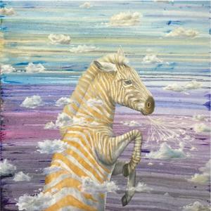 Louise McNaught Dreamweaver colour zebra painting for sale
