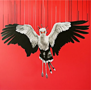 Louise McNaught From The Ashes red animal painting for sale