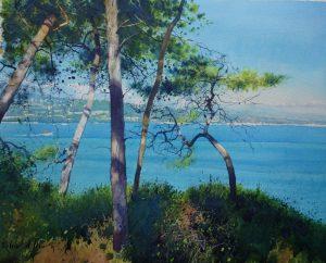 Richard Thorn Pines at Antibes coastal watercolour painting