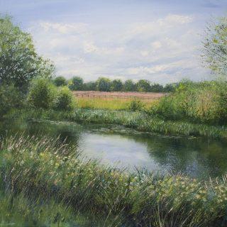 Grace Ellen Summer Meadows Wey river painting for sale