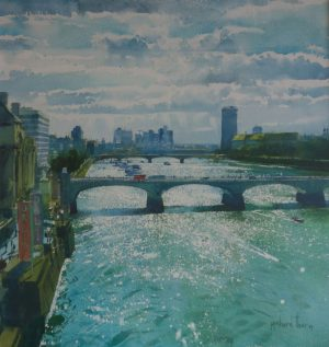 Richard Thorn The Thames watercolour cityscape painting