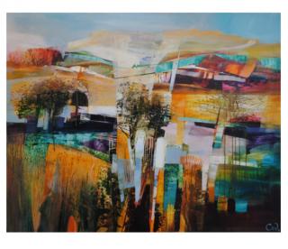 Celia Wilkinson Transient colourful modern landscape painting for sale