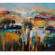 Celia Wilkinson Transient colourful modern landscape painting for sale