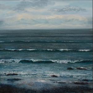 Grace Ellen Teal Tide blue waves seascape painting for sale