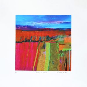 Elaine Coles Another View unframed red abstract field landscape