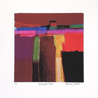 Elaine Coles Evening Glow unframed Abstract Red Painting