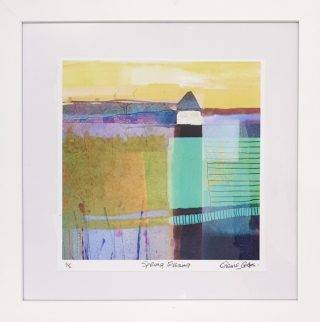 Elaine Coles Spring Evening framed Abstract Colourful Artwork