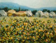 Hazel Barker Lemon Trees Tuscany rural italian art for sale