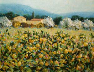 Hazel Barker Lemon Trees Tuscany rural italian art for sale