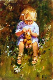 John Haskins Daisy Girl child with teddy bear painting for sale