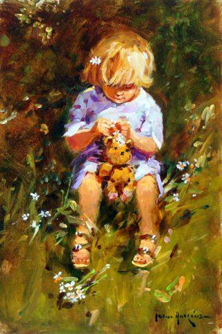 John Haskins Daisy Girl child with teddy bear painting for sale