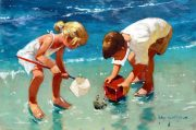 John Haskins Wandering children beach painting for sale