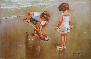 John Haskins Out Of His Depth children seaside art for sale