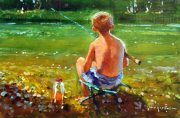 John Haskins Just Thinking fishing painting for sale