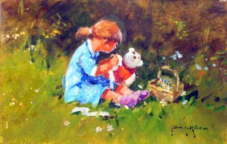John Haskins Running Repairs child with teddy painting for sale