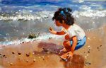 John Haskins Hello child playing on beach painting for sale