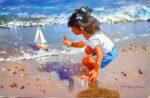 John Haskins Maiden Voyage playful seaside painting for sale