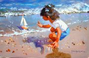 John Haskins Maiden Voyage playful seaside painting for sale