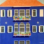 Ali Mourabet The Blue House modern cityscape painting for sale