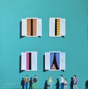 Ali Mourabet The Neighborhood Turquoise Bldg painting for sale