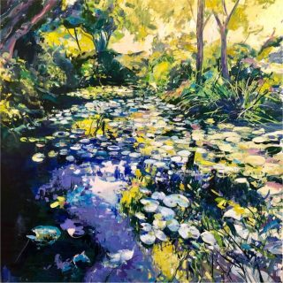 Ian Mowforth Giverny contemporary pond painting for sale