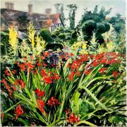 Ian Mowforth Montbretia Great Dixter summer gardens painting for sale