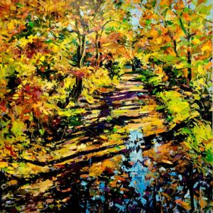 Ian Mowforth Reflected Beeches SW19 autumn artwork for sale