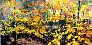 Ian Mowforth The Joy Of Beeches diptych tree painting for sale
