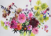 Tessa Pearson Last Summer Bouquet Copper colourful floral artwork for sale
