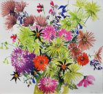 Tessa Pearson Last Summer Bouquet Lime colourful flower painting for sale