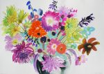 Tessa Pearson Last Summer Bouquet Turquoise watercolour painting for sale