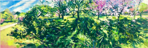 Ian Mowforth Kew Cherries blossom trees painting for sale