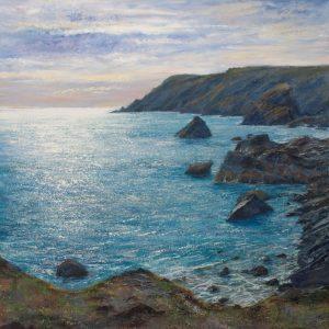 Kynance 90x90m Grace Ellen M cornish coast painting
