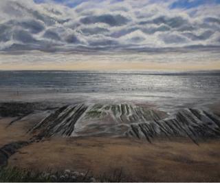 Grace Ellen Dusk Swimmers, Cornwall beach painting