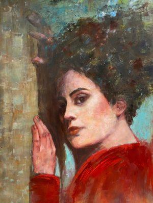 Julie Cross Wallflower modern portrait painting