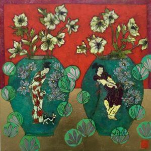 Emma Forrester Ivory Hellebores still life painting